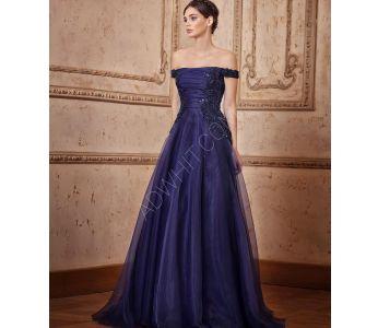 dddccdcd1 فستان عاري الاكتاف طويل شيفون - ازرق داكن - باسعار منافسة - سيتشيل ستور -  secilstore