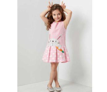 e7478352e فستان اطفال بناتي مع رسمة ارنب - باسعار مخفضة - دينو كيدز - denokids