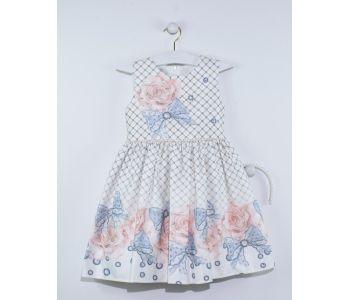 d58e6f42b3d14 فستان اطفال بناتي منقش بورد مع شريط لؤلؤ - باسعار الجملة -دونا - Dona