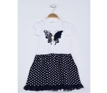 87cab74c63f24 فستان اطفال بناتي مزين بشك - للبيع بالجملة - ايكي بوتشوك - ikibuçuk