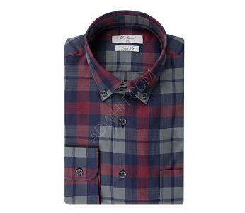 ddad00391 قميص رجالي كاروهات قصة سليم فيت - باسعار الجملة - دي اس دامات - DS damat