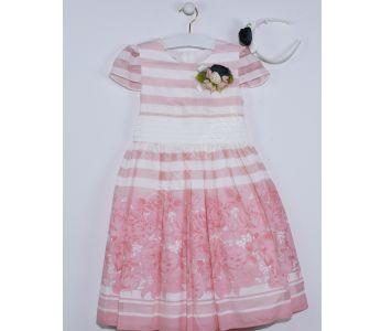 e1d22321b فستان اطفال بناتي مخطط - وردي - للبيع بالجملة - دونا - Dona