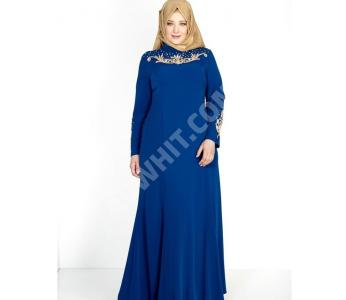 db75d73a8 فستان رسمي طويل بياقة مزينة باللؤلؤ - باسعار منافسة - الفينا - alvinaonline