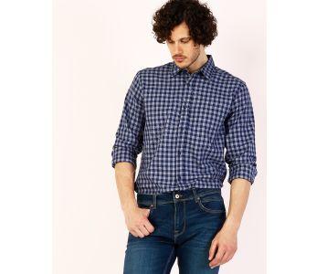 90f5a01be قميص رجالي باكمام طويلة كاروهات - ازرق داكن - بارخص الاسعار - كولينز colins