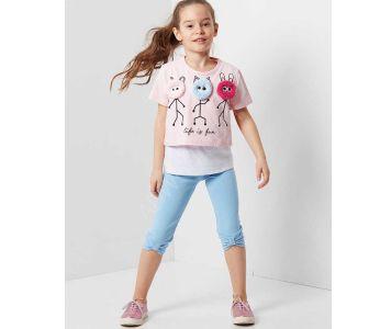 2e7736143 طقم اطفال بناتي مع رسمة - للبيع بالجملة - دينو كيدز - denokids
