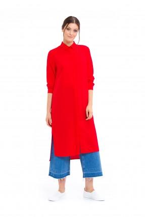 قميص نسائي طويل _ احمر
