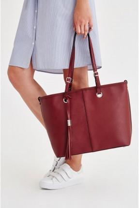 حقيبة يد نسائية جلد _ خمري