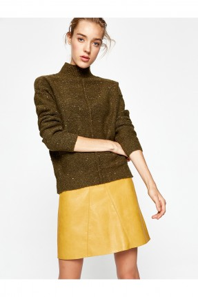 تنورة قصيرة جلد - اصفر