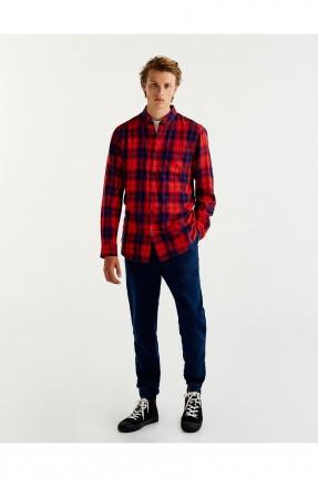 قميص رجالي كارو _ احمر