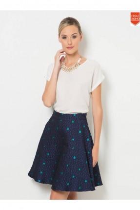 تنورة قصيرة مع نفشة _ ازرق داكن
