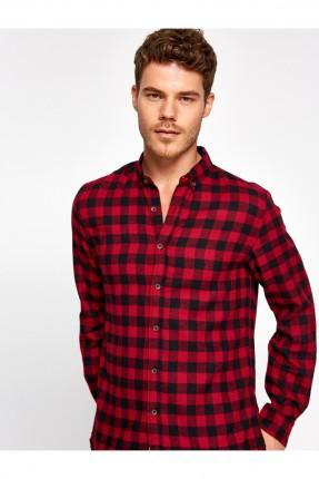 قميص رجالي كارو - احمر