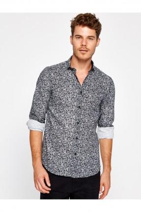 قميص رجالي مع نقشات - اسود