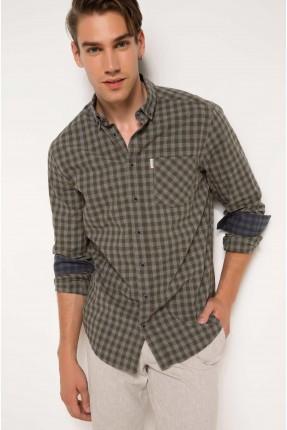 قميص رجالي _ زيتي