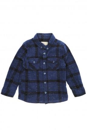 قميص اطفال ولادي كارو - ازرق داكن