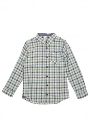 قميص اطفال ولادي مخطط - ازرق