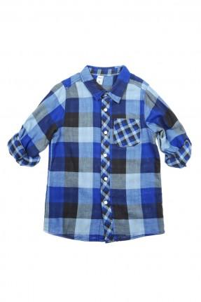 قميص اطفال ولادي كارو - ازرق