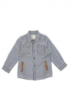 قميص اطفال ولادي مربعات - كحلي