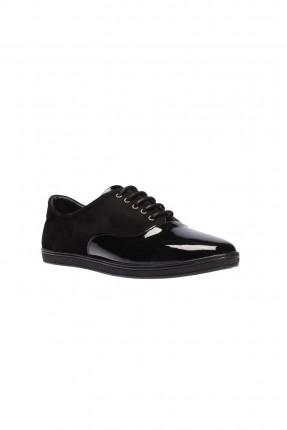 حذاء جلد نسائي - اسود
