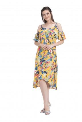 فستان نسائي مفتوح الاكتاف - اصفر