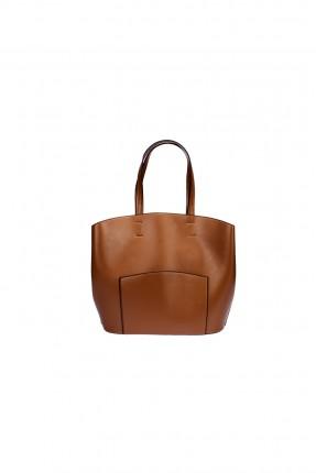 حقيبة يد جلد نسائية - بني
