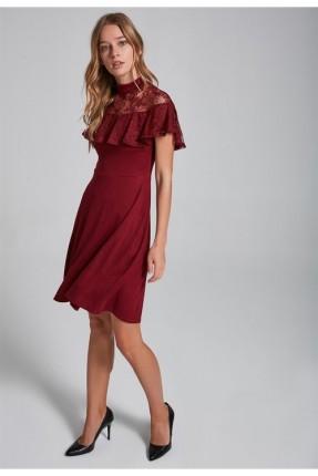 فستان  رسمي مع دانتيل _ خمري