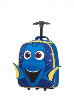 حقيبة مدرسية بشكل السمكة الزرقاء مع دواليب