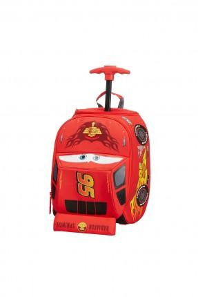 حقيبة مدرسية بشكل سيارة الحمراء مع دواليب