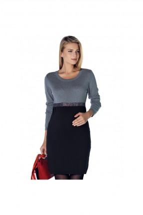 فستان حامل كم طويل - اسود