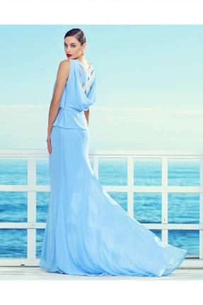 فستان نسائي حفر - ازرق
