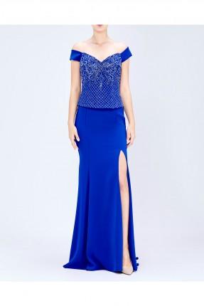 فستان نسائي بفتحة جانبية - ازرق