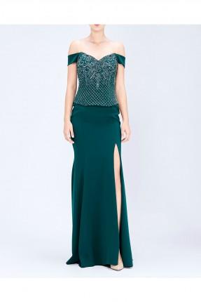 فستان نسائي بفتحة جانبية - اخضر