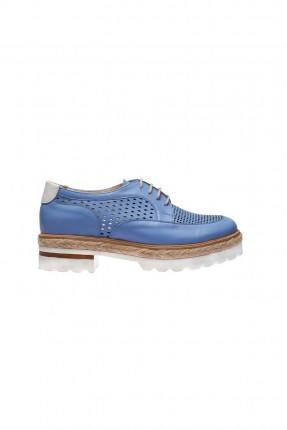 حذاء نسائي جلد _ ازرق