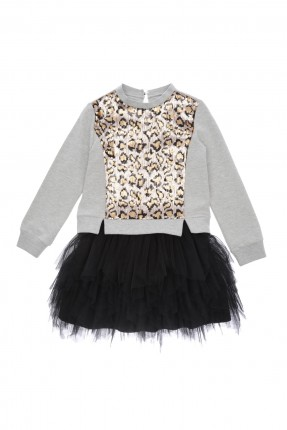 فستان اطفال بناتي مع دانتيل - اسود