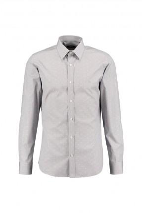 قميص رجالي منقوش - رمادي