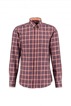 قميص رجالي كارو - برتقالي