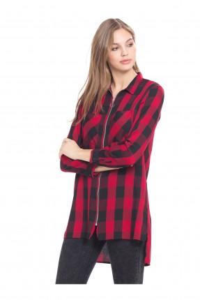 قميص نسائي كارو - احمر