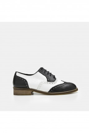 حذاء نسائي جلد لونين _ اسود