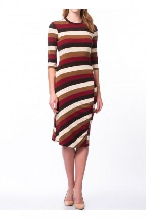 فستان سبور مع اكمام مخطط