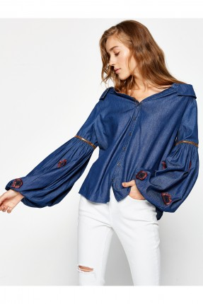 قميص نسائي كم طويل - ازرق