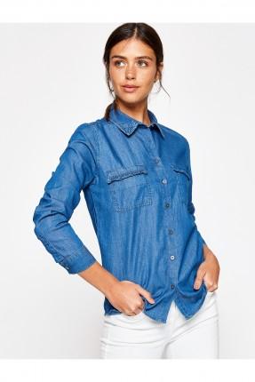 قميص نسائي جينز - ازرق