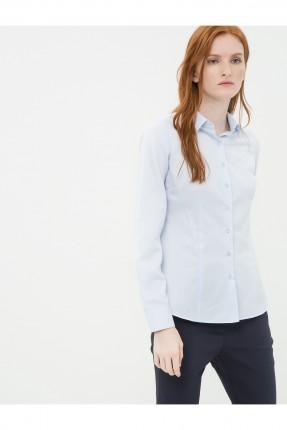 قميص نسائي كم طويل - ازرق فاتح