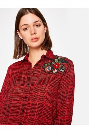 قميص نسائي مطرز - احمر