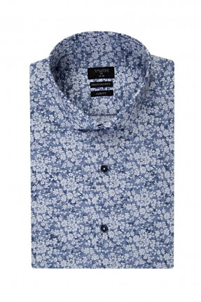 قميص رجالي مورد - ازرق