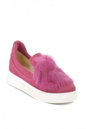 حذاء نسائي مع فرو _فوشيا