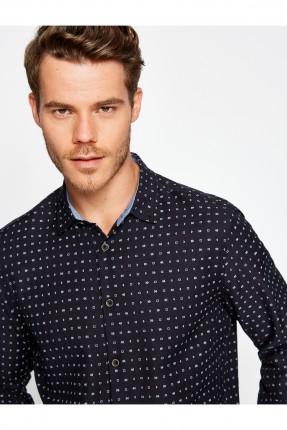 قميص رجالي منقط - اسود