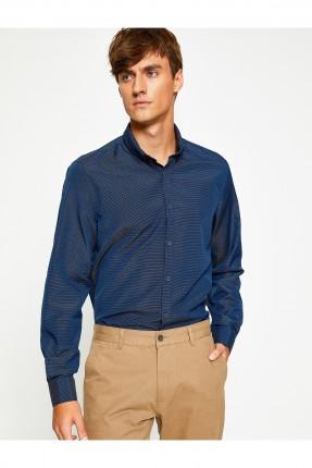 قميص رجالي كم طويل - نيلي