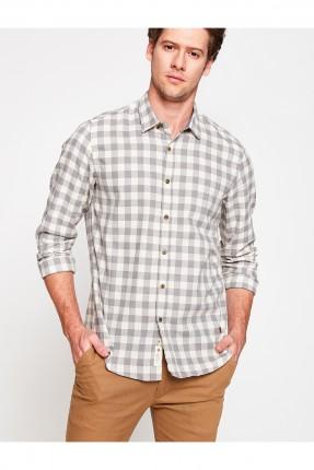 قميص رجالي كارو - رمادي
