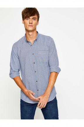 قميص رجالي كارو - ازرق