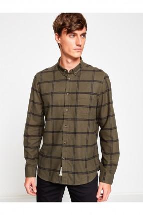 قميص رجالي مخطط - اخضر