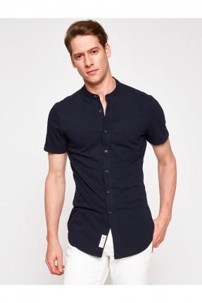 قميص رجالي نص كم - نيلي